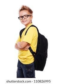 Stylish schoolboy closeup portrait