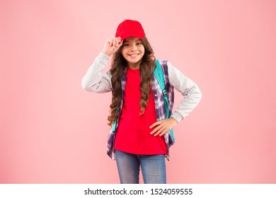 Stylish schoolgirl. Casual style comfortable for spending entire day in school. Girl little fashionable cutie carry backpack. Schoolgirl daily life. Schoolgirl street style clothes. School club.