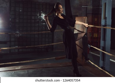 Stylish and sexy woman in black with black Labrador. In the Boxing ring