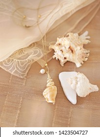 stylish shell necklace - summer jewelry advertisement - brown tulle background