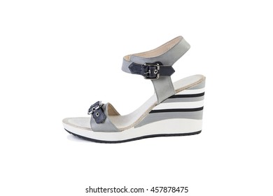 stylish shoes on a white background, women shop online