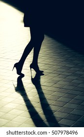 Stylish silhouette of beautiful woman legs in shoes