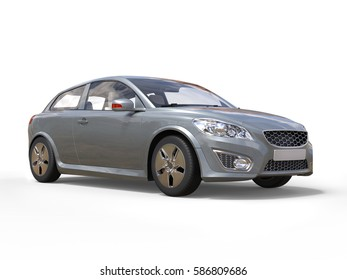 Stylish silver modern electric family car - 3D Illustration