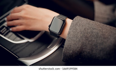Stylish smart watch on woman hand