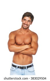 Stylish, smiling and athletic, muscular young man. Isolated on white background.