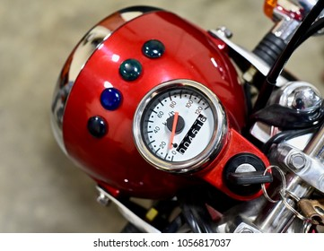 Stylish speed & milage meter of a motorbike isolated unique stock photo