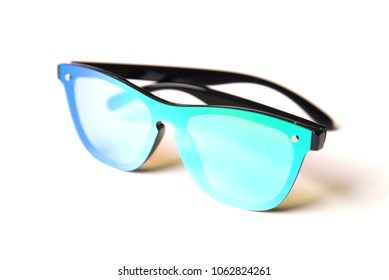 Stylish sunglasses with mirror blue-green lenses isolated on white background