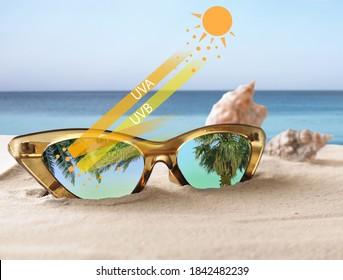 Stylish sunglasses on sandy beach near sea. UVA and UVB rays reflected by lenses, illustration