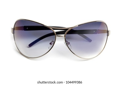 Stylish sunglasses in a thin frame on  white background
