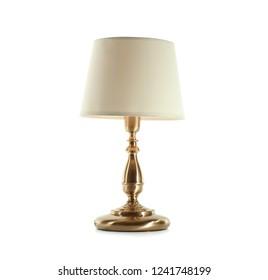 Stylish table lamp on white background. Idea for interior design