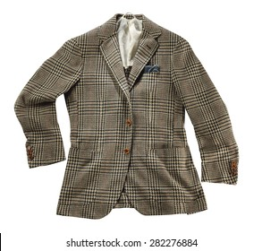 Stylish tailored brown checked wool jacket with lapels displayed on a white background