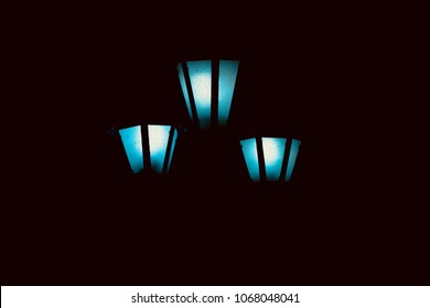 Stylish three street lamps isolated electric lights unique photograph