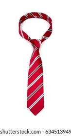 stylish tied bright red striped tie with black and white lines isolated on white background  studio shot of expensive modern silk tie