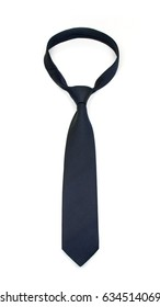stylish tied dark blue tie isolated on white background  studio shot of expensive modern silk tie