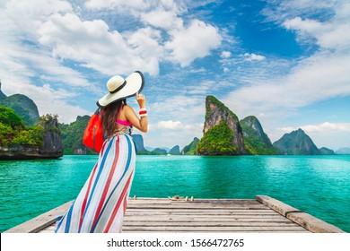 Stylish traveler woman joy beautiful nature scenic landscape Phang-Nga bay, Attraction adventure landmark tourist travel Phuket Thailand summer holiday vacation trip, Tourism destination scenery Asia