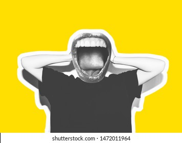 Stylish trendy collage of modern art. Screaming crazy mouth instead of head, giving a sign of rock and roll, a gesture of devil horns. Black and white tones on a yellow isolated background.