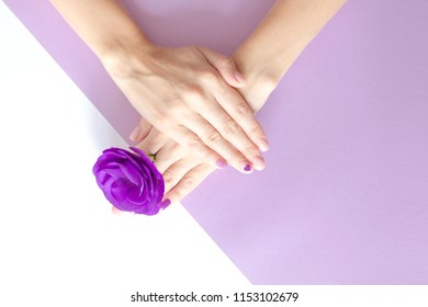 Stylish trendy female manicure. Beautiful young woman's hands on pink, violet and white background. Summer concept.