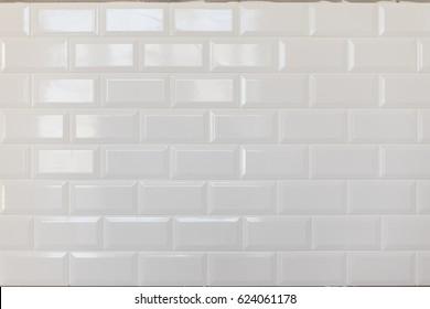 Stylish trendy white ceramic brick wall pattern