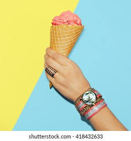 Stylish Vanilla Summer. Fashionable Accessories. Rings, Watches and Bracelets