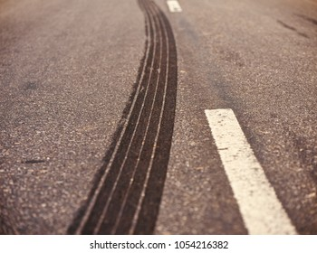 Stylish vehicles tyre marks on the streets isolated unique stock photo