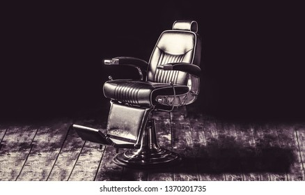 Stylish vintage barber chair. Barbershop armchair, modern hairdresser and hair salon, barber shop for men. Professional hair stylist in barber shop interior. Barber shop chair. Vintage style.