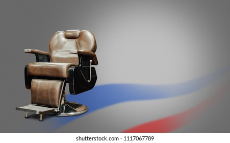 Stylish Vintage Barber Chair Isolated On Gray Background. Barbershop Theme