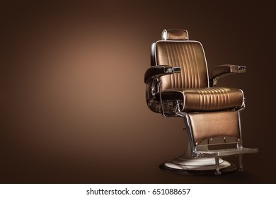 Stylish Vintage Barber Chair Isolated On Brown Background. Barbershop Theme