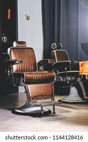 Stylish Vintage Barber Chairs In Barber Shop. Barbershop Theme