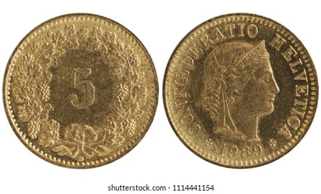 Stylish vintage five Swiss rappen, 1989. Brass coin with Helvetica head image isolated on white.