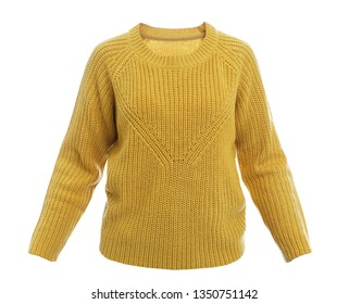 Stylish warm female sweater on white background