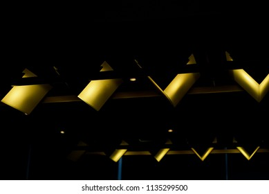 Stylish wave shape interior yellow lights isolated unique photograph