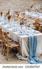 Stylish wedding table decoration and table setting