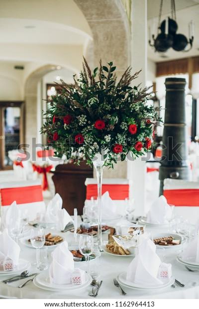 Stylish Wedding Table Setting Elegant Wedding Stock Photo