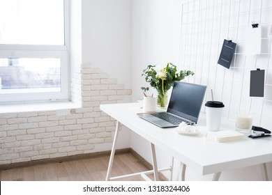 Stylish white professional office interior, minimalist loft workspace