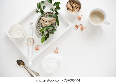 Stylish white table top, social media flat lay with plants