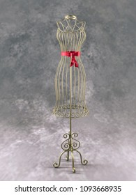 Stylish wire tailor's mannequin - on gray background