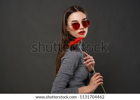 faae9ec4b0fd Stylish Woman Glasses Flower Fashion Stock Photo (Edit Now ...