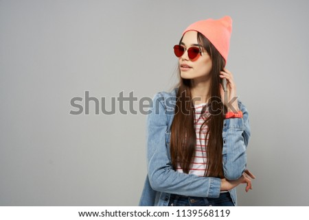 04f1a8aa8737 Stylish Woman Glasses Wearing Hat Fashion Stock Photo (Edit Now ...