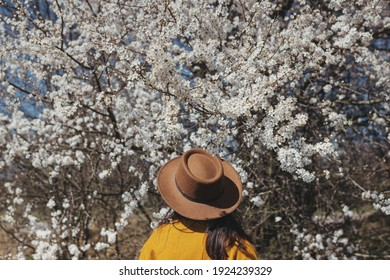 Stylish woman in hat sensually posing among blooming cherry branches in sunny spring day, back view. Calm tranquil moment. Fashionable female in yellow jacket embracing in white flowers
