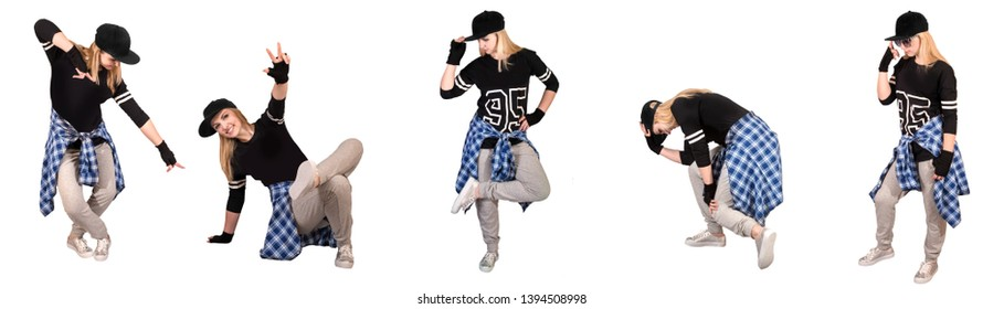 Stylish woman in hip-hop style. Collage isolated on white.