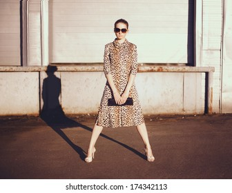 Stylish woman in a leopard dress, glasses witch clutch in the ghetto evening, street fashion