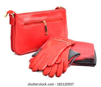 Stylish woman red bag, gloves and a scarf isolated on white background