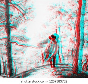 Stylish woman wearing in a hat and poncho standing in the forest among trees, rear view. Image with anaglyph effect.