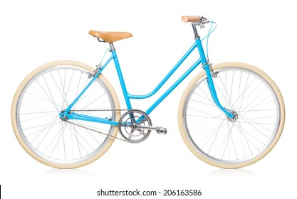 Stylish womens blue bicycle isolated on white background