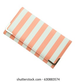 Stylish women's purse pink striped isolated on the white background. Closeup of modern pink leather wallet over white background. Top view on the wallet.