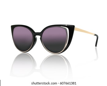 stylish women's sunglasses isolated on the white background