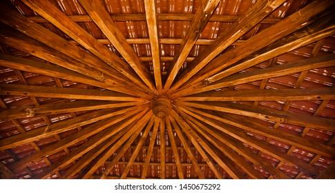 Stylish wooden made ceiling decoration unique photo