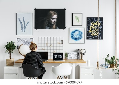 Stylish working space for photographer in his home