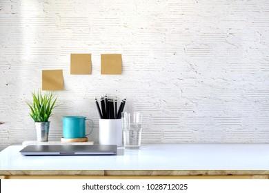Stylish workplace with copy space, Designer mockup desk work.