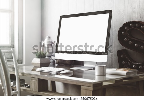 Stylish workspace with computer  on home or studio